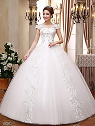 Ball Gown V-neck Floor Length Lace Satin Tulle Wedding Dress with Crystal Sequin by QQC Bridal
