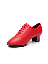 """Women's Latin Leatherette Heel Practice Beginner Professional Indoor Performance Lace-up Low Heel Black Red Silver Gold 1"""" - 1 3/4"""" Non"""
