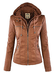 cheap -Women's Daily Vintage Street chic Spring Fall Leather Jacket,Solid Hooded Long Sleeve Regular PU Cotton Polyester