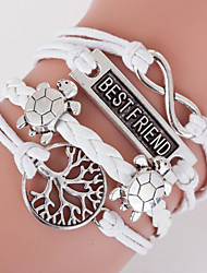 cheap -Retro Style Multilayer White Turtle Animal Heart Love Weave Wrap Bracelet with Rivet