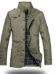 cheap -Men's Dailywear Weekend School Date Classic & Timeless Military Winter Fall Regular Jacket, Solid Color Stand N/A