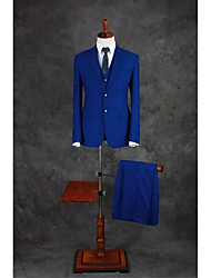 Suits Tailored Fit Notch Single Breasted Two-buttons Cotton Blend Solid 3 Pieces Royal Blue Straight Flapped Double (Two) BlueDouble