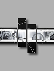 Ready to Hang Stretched Hand-Painted Oil Painting Four Panels Canvas Wall Art Modern Black Silver Abstract