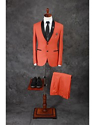 Suits Tailored Fit Shawl Collar Single Breasted Two-buttons Cotton Blend Solid 2 Pieces Orange Slanted Piped Double (Two) Double (Two)