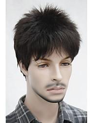 cheap -Stylish Synthetic Black Brown Short Full Bang Short Shaggy Natural Wavy Capless Men's Wig