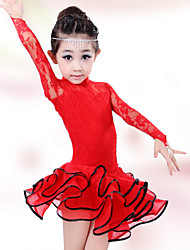 cheap -Shall We Latin Dance Children Fashion Lace Performance Cotton Dresses Dance Costumes