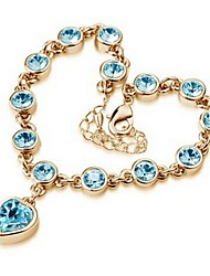 cheap -High Quality Crystal Golden Plated Heart Shape Chain &Link Bracelet Christmas Gifts