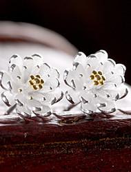 cheap -2016 Korean Women 925 Silver Sterling Silver Jewelry AAA Zircon Lotus Flowers Earrings Stud Earrings 1PairImitation Diamond Birthstone