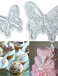 cheap -4PCS Butterfly Cake Cookies Cutter Plunger Sugarcraft Decorating Fondant Mold