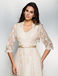 Wedding  Wraps Shrugs 3/4-Length Sleeve Lace Champagne Wedding Party/Evening Casual Lace Open Front