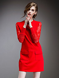 cheap -OuYa Women's Patchwork / Lace Red / Black Dresses , Sexy / Lace Round Long Sleeve