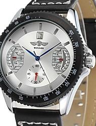 baratos -Homens Mecânico - de dar corda manualmente relógio mecânico Relógio de Pulso Relógio Casual Couro Banda Luxo Preta