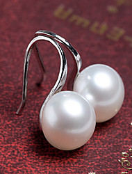 cheap -Women's Fashion Korean Style Silver Plated Large Pearl Stud Earrings