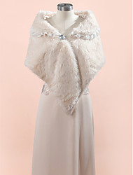 Wedding  Wraps Fur Wraps Shawls Sleeveless Faux Fur Ivory Champagne Wedding Party/Evening Lace Clasp