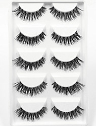 cheap -5 Pairs Thick Black False Eyelashes Clear Strip Lash Mink Lashes Part Event High Quality Wedding Makeup