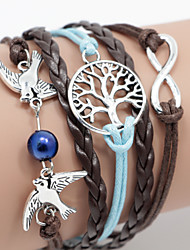 Multilayer Bird & Life Tree Weave Bracelet,Blue + Brown inspirational bracelets