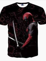 baratos -Homens Camiseta Básico Estampado,Retrato Decote Redondo Delgado