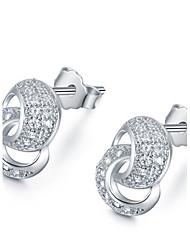 baratos -Mulheres Prata de Lei Brincos Curtos - Para Casamento Festa Diário