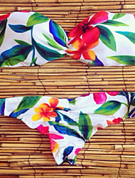 Feminino Estampado Nadador Biquíni Roupa de Banho Floral Branco Verde