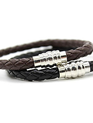 Braided Leather Mens Bracelet with Locking Stainless Steel Clasp Christmas Gifts