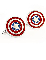 cheap -Captain America Stainless Steel Cufflinks Square Vintage Wedding  Graving Men's Groom Shirt Deluxe Christmas Gifts