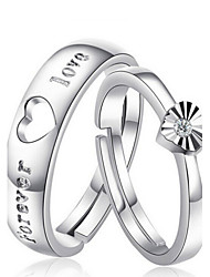 cheap -Couple's Couple Rings - Sterling Silver Fashion Adjustable Silver For Wedding / Party / Daily / Zircon