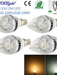 cheap -E14 LED Candle Lights C35 3 High Power LED 260 lm Warm White Cold White 3000/6000 K Decorative AC 220-240 AC 110-130 V