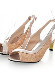 baratos -Mulheres Sapatos Couro Envernizado / Gliter Verão Salto Sabrina Gliter com Brilho / Presilha / Combinação Vermelho / Azul / Dourado / Festas & Noite / Festas & Noite