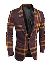 billige -Langærmet Herre Ternet Formelle Blazer,Bomuld Polyester