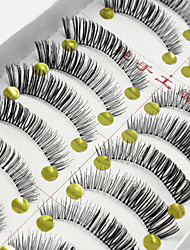 cheap -10 Pairs Soft Natural Black False Eyelashes Fake Lashes Individual Lash Luster Cross Curl Clear Strip