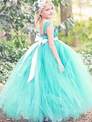 robe de bal longueur de cheville robe de fille de fleur - sangles de spaghetti en polyester sans manche avec ruban par thstylee
