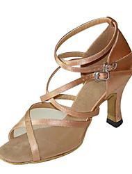 Недорогие -Для женщин - Сатин / Дерматин - Не персонализируемая (Коричневый / Золотистый / Леопард) - Латина / Сальса / Самба / Обувь для свинга