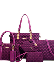 cheap -Women's Bags Nylon Tote / Wallet / Shoulder Bag 6 Pieces Purse Set Purple / Fuchsia / Blue / Bag Sets