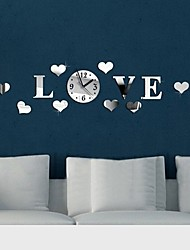 cheap -Fashion Top Grade Creative DIY  LOVE Acrylic Mirror Wall Decorative Wall Of Sitting Room  Wall Clock