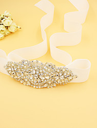 cheap -Bead Satin Wedding Party/ Evening Sash With Rhinestone Imitation Pearl