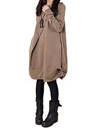 Ample Robe Femme Décontracté / Quotidien simple Chinoiserie,Couleur Pleine Col Arrondi Mi-long Manches Longues Printemps AutomneTaille