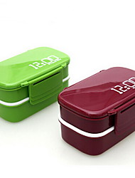 12:00 Clock 2 Layers Bento Lunch Box 1.4L Plastic Microwave Oven Food Container