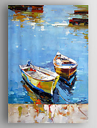 cheap -Oil Painting Abstract Landscape Boats  Hand Painted Canvas with Stretched Framed Ready to Hang