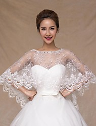 cheap -Sleeveless Lace Wedding Wedding  Wraps With Crystal Lace Capelets
