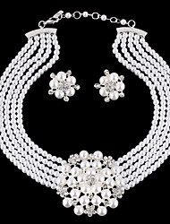 cheap -Women's Pearl Rhinestone Silver Plated Imitation Diamond Jewelry Set Earrings Necklace - Luxury Bridal Birthstones Fashion European