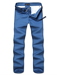 abordables -Chino Pour des hommes Couleur plaine Décontracté / Grandes Tailles Coton / Polyester Noir / Bleu / Vert / Rouge / Gris