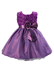 cheap -Girl's Solid Dress, Cotton Acrylic Polyester All Seasons Sleeveless Floral Dresswear Bow Purple Fuchsia Red Blue Pink