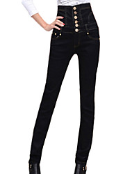 Women's Fashion High Waist Solid Black Jeans Pants , Casual/Work Button