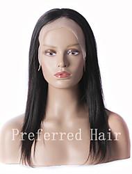 новое прибытие 100% необработанной brazilianhuman волосы 12-28inch шелковистая прямая натуральный черный полный парик шнурка