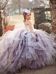 cheap -Ball Gown Court Train Flower Girl Dress - Polyester Tulle Stretch Satin Sleeveless Spaghetti Straps with Flower(s) by YDN