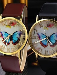 cheap -Leisure Style Business Water Leather women watch clock butterfly Cool Watches Unique Watches Fashion Watch Strap Watch