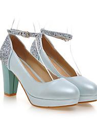 cheap -Women's Shoes Leatherette Chunky Heel Heels / Platform / Round Toe Heels Wedding / Party & Evening / Dress