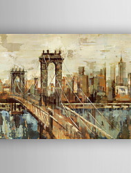 Oil Painting Abstract Bridge Landscape Hand Painted Canvas with Stretched Framed Ready to Hang
