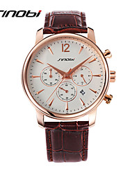 SINOBI Men's Sport Watch Wrist watch Calendar Water Resistant / Water Proof Sport Watch Quartz Leather Band Black