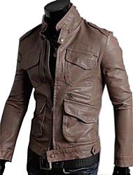 coreano estilo slim pu jaqueta masculina